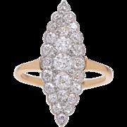 Antique Navette Diamond Ring set in 18 KT. Gold