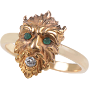 14 KT. Yellow Gold Greek God Diamond and Emerald Ring