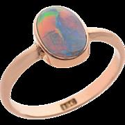Black Opal set in 15 KT. Rosy Gold Ring