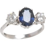 Sapphire and Diamond 3 Stone Ring set in 18 KT. White Gold
