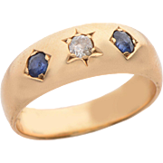 18 KT. Gold Sapphire and Old European cut Diamond Gypsy Ring