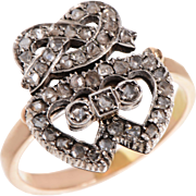 Victorian Double Heart and Friendship Knot in 14 KT Gold and Rose Cut Diamond  Ring