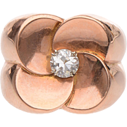 9 KT. Rose Gold Flower Head with Diamond center Ring