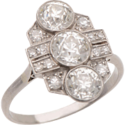 Art Deco Old Euro Diamond and Platinum Dress Ring