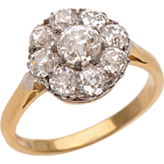 Antique Floral Cluster Old Euro Diamond  Ring set in 18 KT. Gold