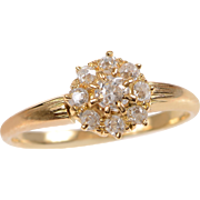 Old European Diamond and 14 KT. Gold Cluster Ring