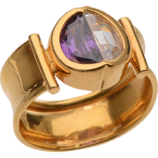 Unique 18 KT. Gold Amethyst and White Sapphire Half Moon Ring