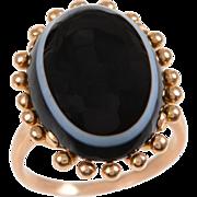 Vintage Banded Agate Bullseye Ring set in 18 KT. Gold