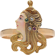 Art Nouveau Lady in Profile Enamel Diamond and Emerald and Garnet Ring