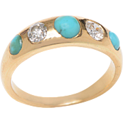 18 KT. Yellow Gold Turquoise and Old Euro Diamond Gypsy Ring