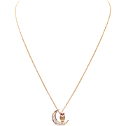 Owl and Crescent Moon Diamond Necklace