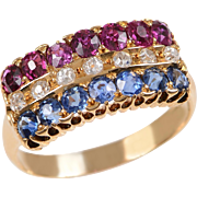 Tricolor Band of Rubies Sapphire and Diamond set in 18 KT. Yellow Gold