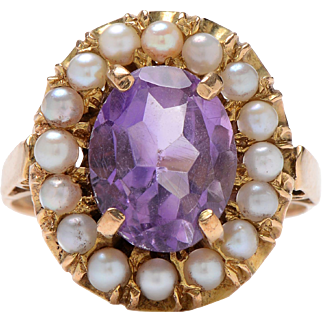 Vintage 9 KT. Yellow Gold & Amethyst and Pearl Cluster Ring