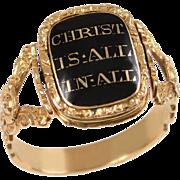 Georgian Memorial Ring, Enamel, Onyx, Crystal Back 18 KT. Gold