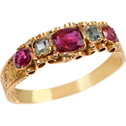 Antique English Ruby and Green Tourmaline Jewel Topped Band  in 15 KT. Gold
