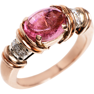 Cabochon Pink Tourmaline, Diamond and 14 Kt. Rose Gold Ring