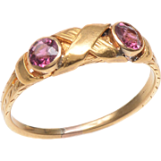 18 KT. Yellow Gold Victorian Ring with 2 Old Mine Amethysts