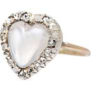 14 KT. Yellow Gold Heart Shape Moonstone set with a Border of Rose Cut Diamond Ring