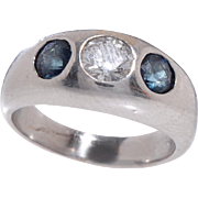Sapphire and Diamond Gypsy Ring set in 14 KT. White Gold