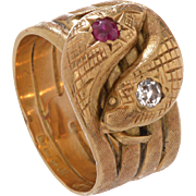 Engraved 4 Row 18 KT. Yellow Gold Double Headed Serpent Band