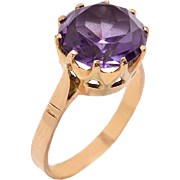 Rose Gold Crown Style Mounted Ring with a Synthetic Sapphire Stone