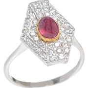 Edwardian Ruby and Diamond Ring set in 18 KT. White Gold