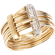 14 KT. Yellow Gold and Diamond 7 Thread Buckle Ring
