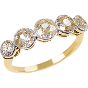 5 Stone Old Euro Diamond Band in 18 KT. Gold and Platinum