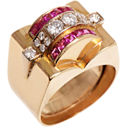 18 KT. Yellow Gold Buckle Style Domed Top Ring with Diamond and Ruby detail