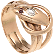 Highly Polished 14 KT. Rose Gold Serpent Wrap Ring with Two Ruby Eyes and a Diamond Accented Head