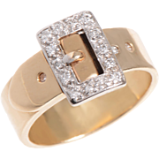 Polished 14 KT. Yellow Gold Band with a Diamond Detailed Buckle