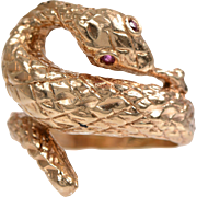 14 KT. Gold Engraved Serpent Ring with Ruby Eyes