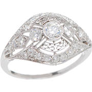 Art Deco Platinum and Old European Diamond Ring