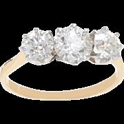 Old European Diamond set in Platinum in an 18 KT. Gold Mounting Ring