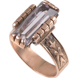 Victorian 9 KT. Rose Gold and Amethyst Ring