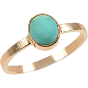 14 KT. Yellow Gold and Cabochon Turquoise Ring