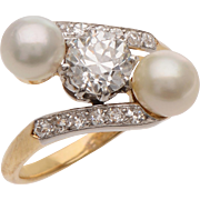 Antique Old European cut  Diamond and Cultured Pearl Crossover Ring