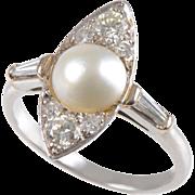 Art Deco Platinum set Cultured Pearl and Diamond Navette Shape Ring