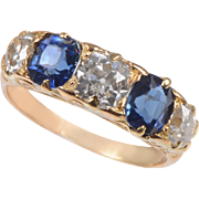 18 KT. Yellow Gold 5 Stone Ring with Sapphires and Old Mine Diamonds
