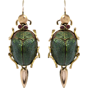 15 KT. Yellow Gold English Antique Scarab Beetle Earrings