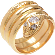 English 18 KT. Yellow Gold Engraved Triple Band Serpent Ring with an Old Euro Diamond Head and Rose Cut Diamond Eyes