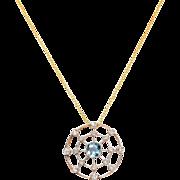 Edwardian Spider Web of Diamonds and Aquamarine Necklace
