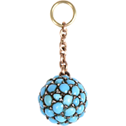 Studded Cabochon Turquoise Ball on a Chain Charm / Pendant