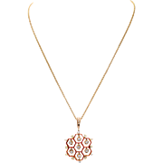 Vintage 14 KT. Yellow Gold Honeycomb Shape Enamel with Diamond Detail Pendant