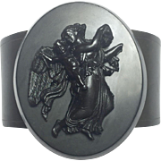 Victorian Mourning Vulcanite Pysche and Cupid Bracelet