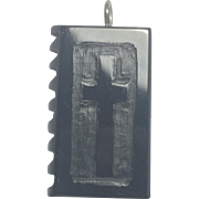 Whitby Jet hand carved Bible pendant rare