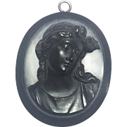 ANTIQUE Victorian Mourning  Cameo Vulcanite Pendant