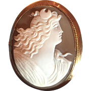 ANTIQUE Art Deco Cameo Goddess Diana 9k Gold