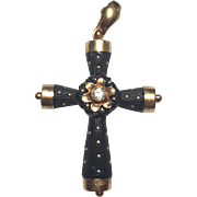 ANTIQUE VICTORIAN Mourning 18K Solid Rose Gold Bog Oak & Diamond  Cross Pendant