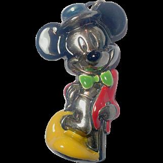 Vintage Mickey Mouse Large Sterling Enamel Pendant